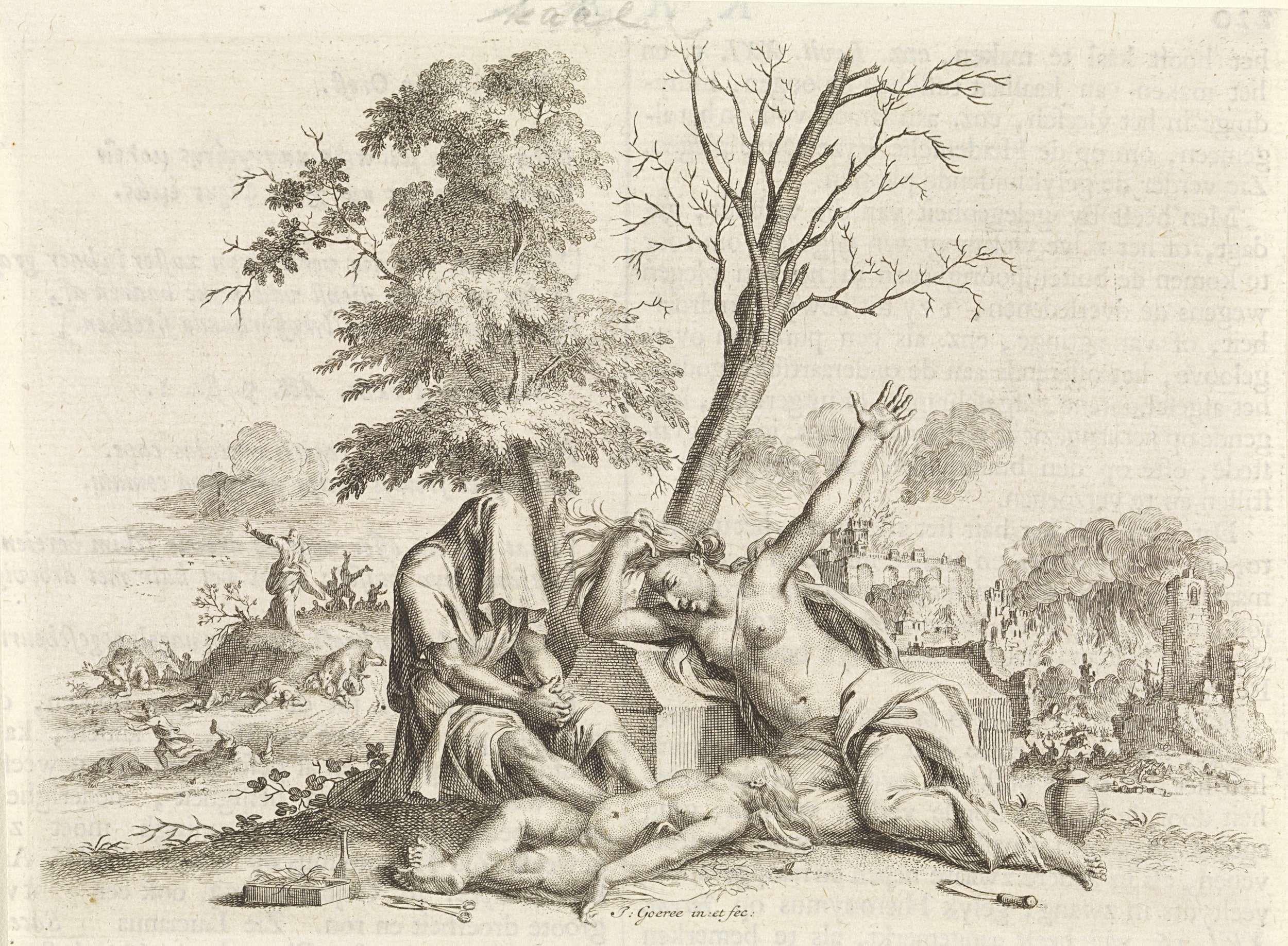 Jan Goeree | Embleem: kaalheid, Jan Goeree, Gerard onder de Linden, Joannes van Braam, 1723 | Een embleem met op de voorgrond een man en een vrouw die rouwen om de dood van hun kind. De man heeft zijn hoofd afgedekt. Hij heeft zijn haar afgeknipt. Het ligt als offer naast het lijk van zijn kind. Aan de andere kant van het lijk de moeder, die uit verdriet haar haren uittrekt. Beiden zitten voor een kale boom. Op de achtergrond links de profeet Elisa, die wraak neemt op de kinderen die hem…