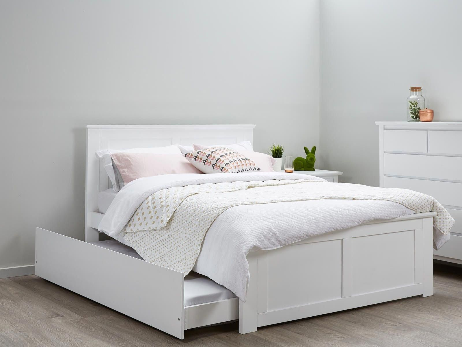White Double Size Bed Frame With Trundle Modern Timber Childrens Kids Beds Bedroom Furniture White Bed Frame Bedroom Furniture Sets Childrens Bedroom Furniture