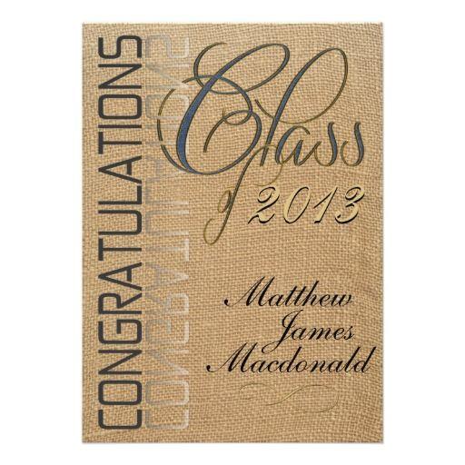 Burlap Mirror Formal Graduation Invitation Fancy denim lettering on