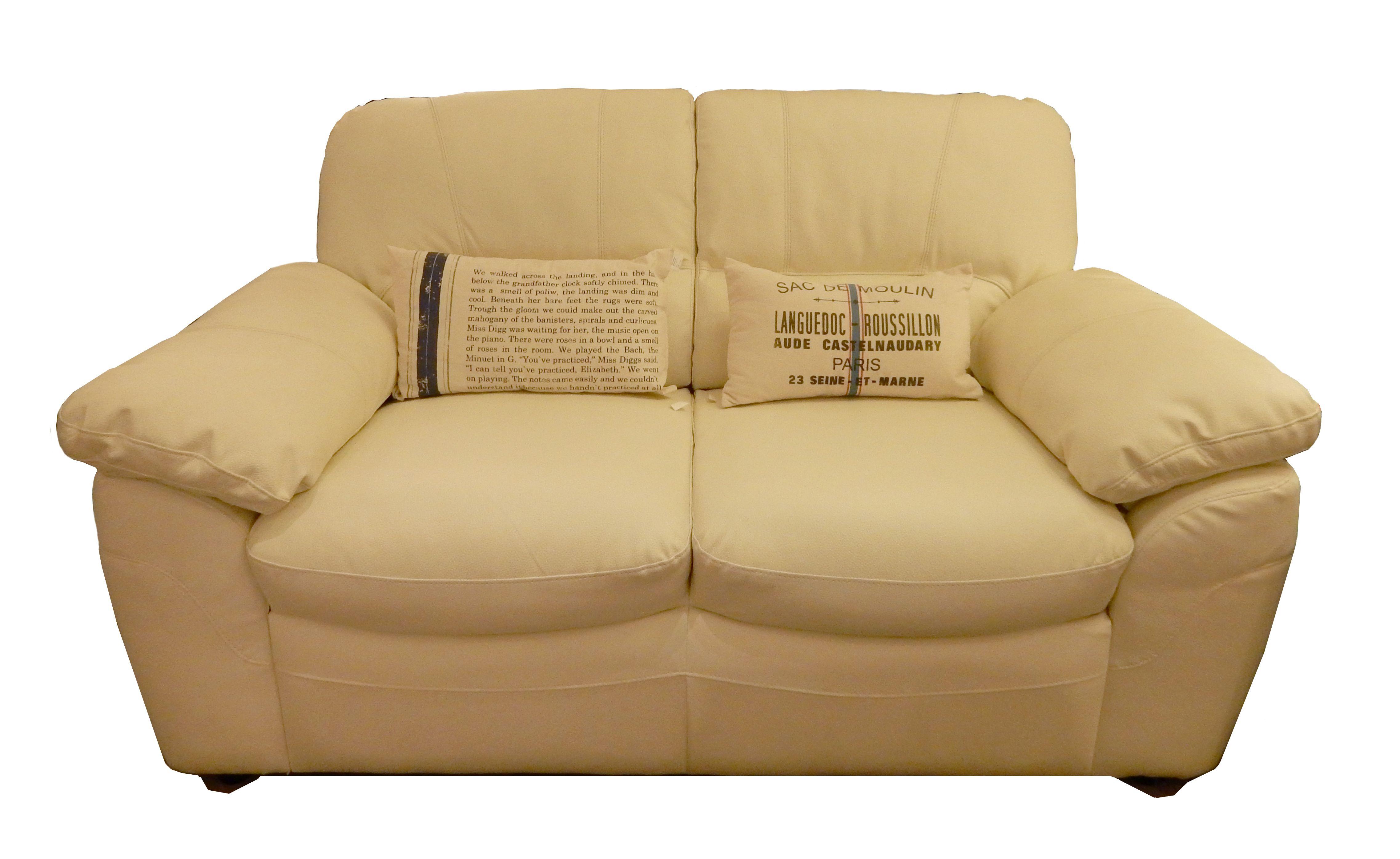 Sofá en cuero combinado color marfil. De dos cuerpos, 1.60 x 0.90m ...