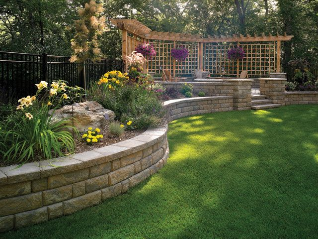Landscaping ideas for downward sloping backyard with for Block wall landscape design