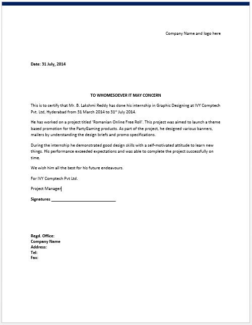Internship certificate template 6 free samples word templates.