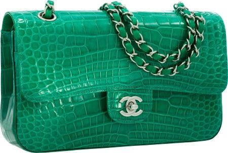 bba64d130365 Chanel Shiny Green Crocodile Medium Double Flap Bag with Silver Hardware
