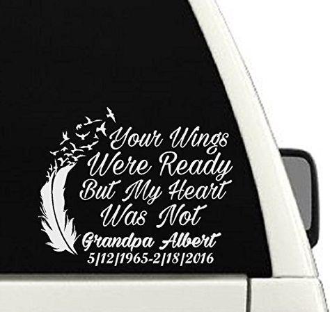 Wings Were Ready Heart Was Not Memorial Remember Love Car Window Decal Sticker