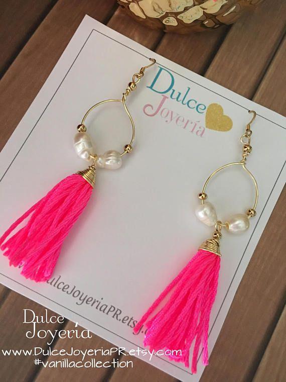 c7379d2d4c1d Aretes largos con borlas rosas pink tassels earrings tassel