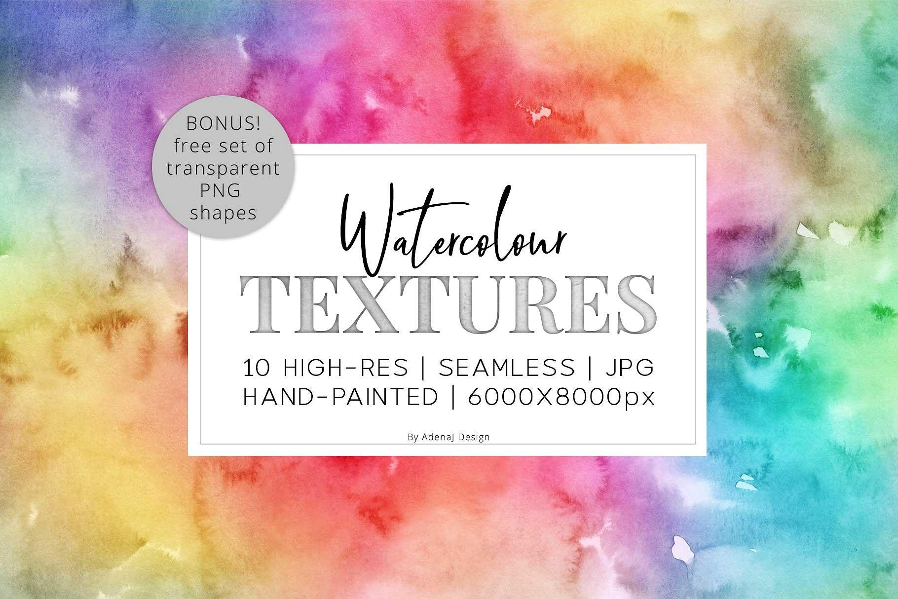 10 Huge Seamless Rainbow Watercolors Ad Sponsored