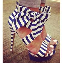 Gorgeous Contrast Colour Stain Bowtie Platform Sandals