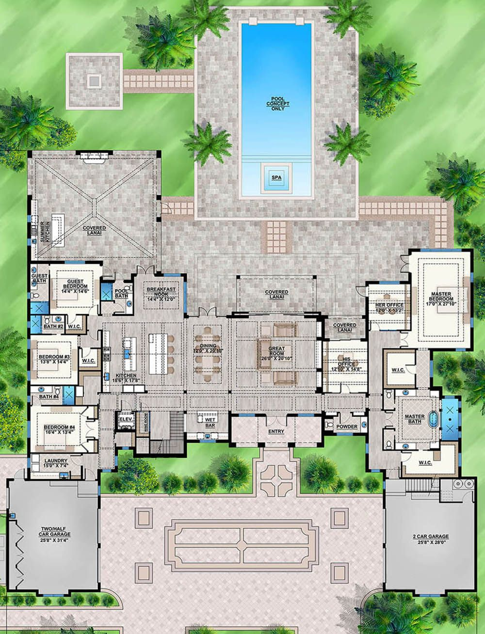 House Plan 207 00067 Luxury Plan 8 285 Square Feet 7 Bedrooms 8 5 Bathrooms Luxury Floor Plans Luxury House Plans Mansion Floor Plan
