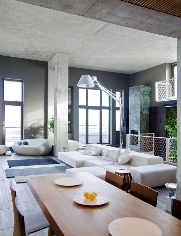 Mobilier industriel dans l\'intérieur plan ouvert – 50 photos cool ...