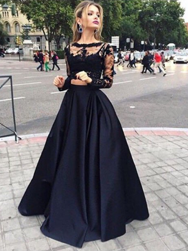 Custom Made Round Neck Long Sleeves 2 Pieces Black Lace Prom Dresses