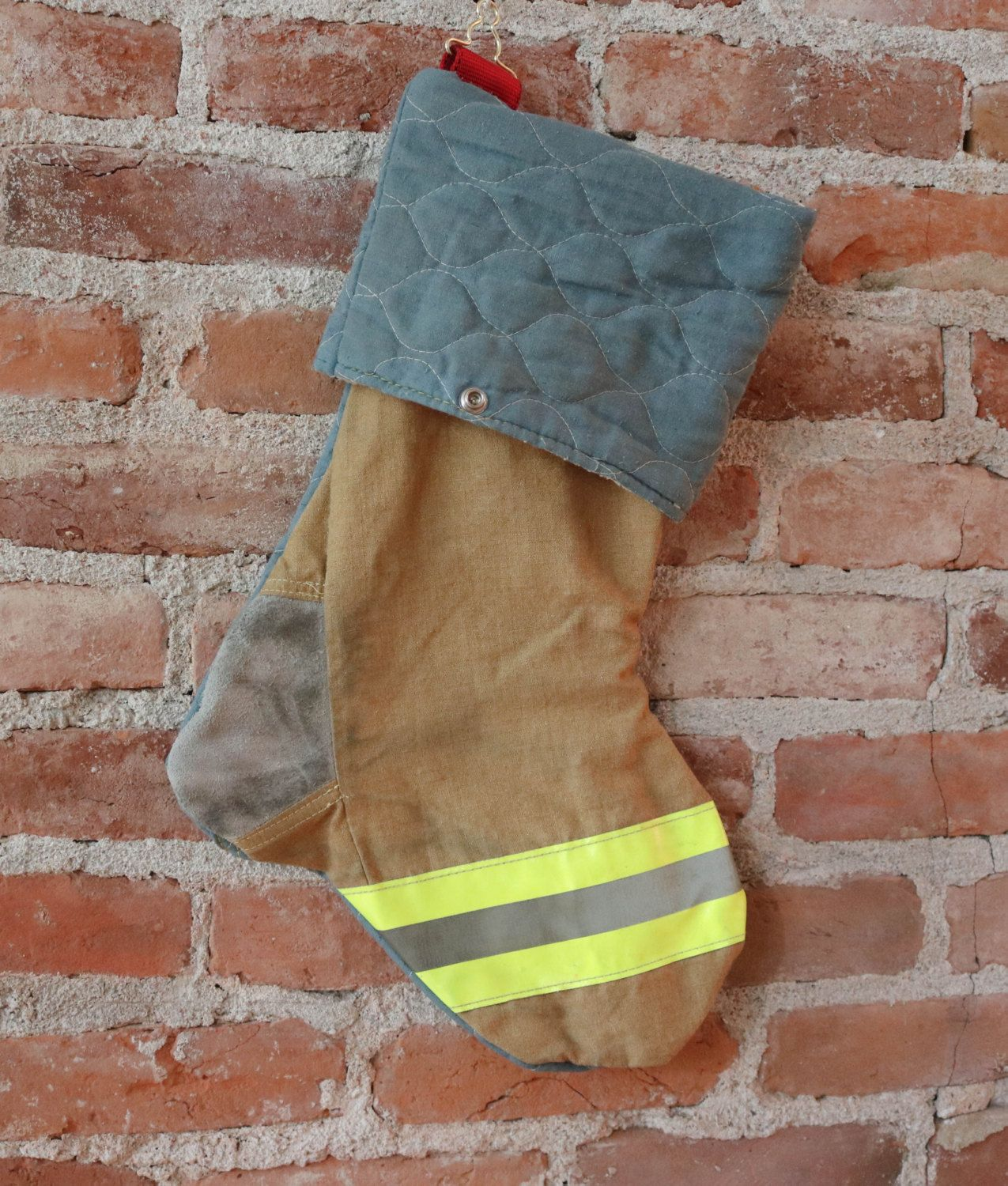 Firefighter Christmas Stocking.Recycled Firefighter Christmas Stocking Recycled