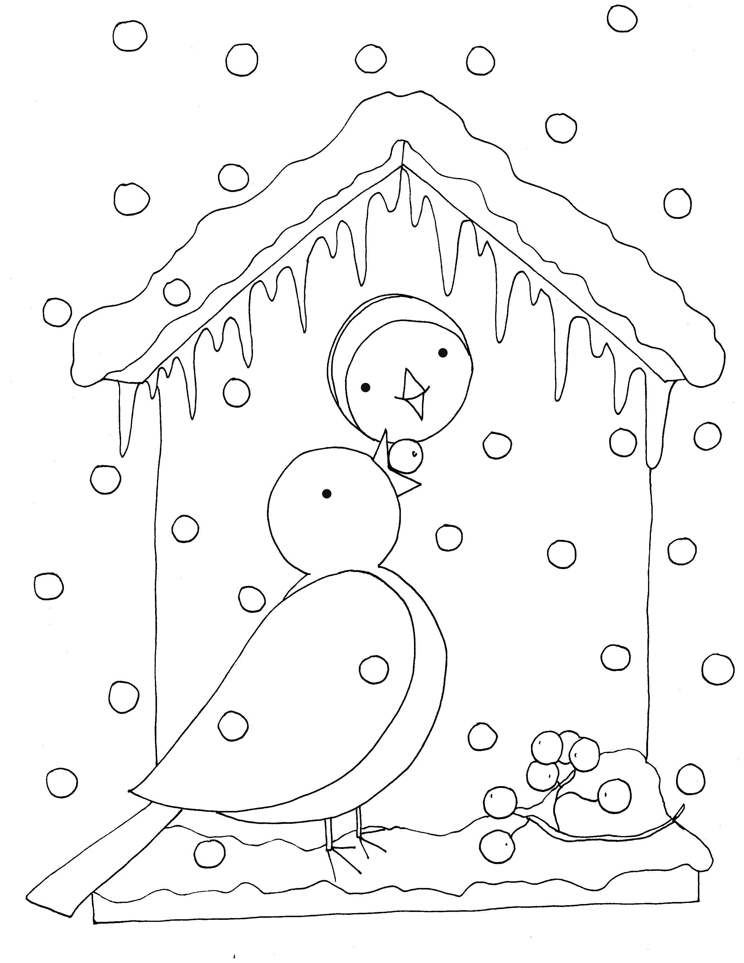 Kleurplaten Wintervogels.Kleurplaat Vogels In De Winter Winter Vogels