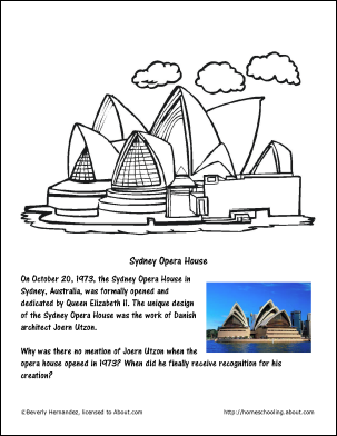 Australia Wordsearch Crossword Puzzle And More Sydney Opera House Coloring Page