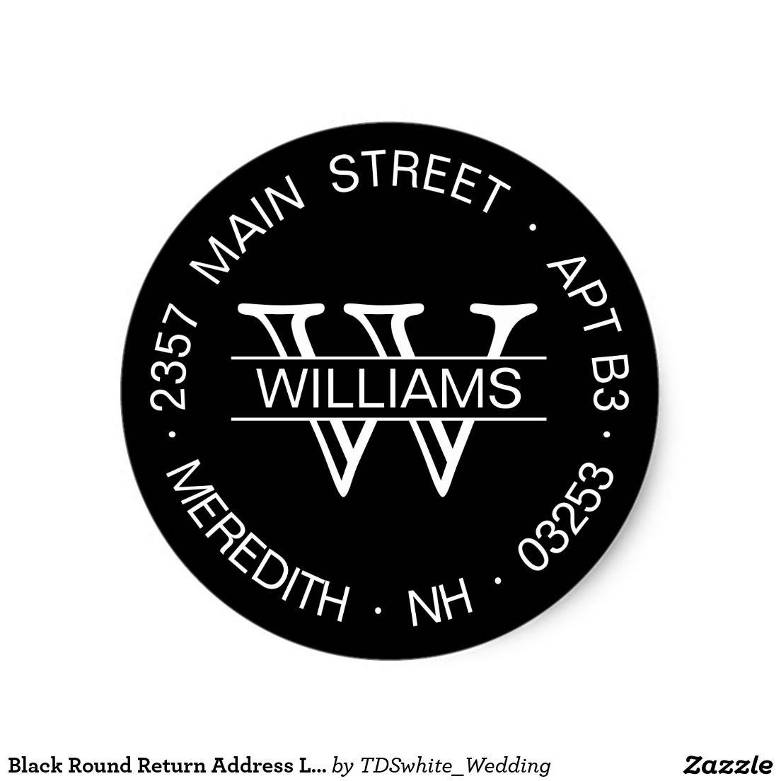 Black round return address label template