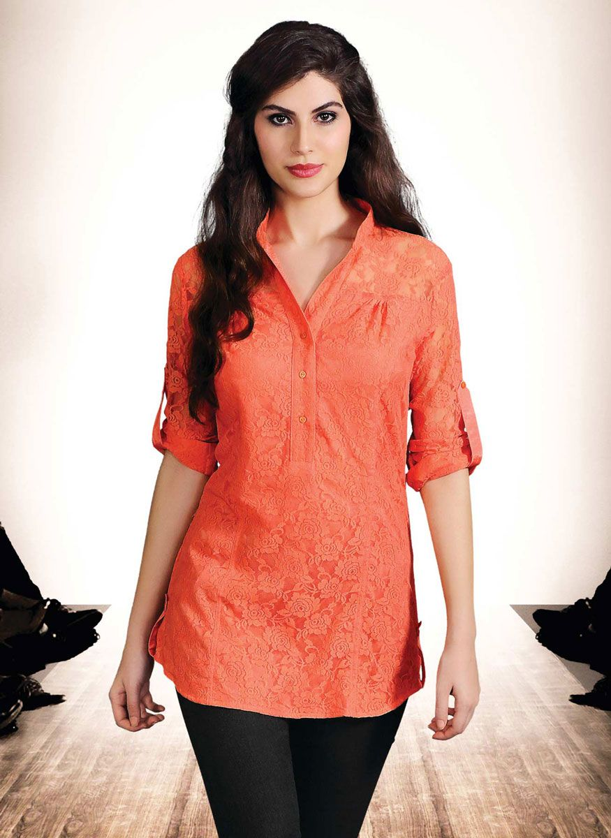 #Orange Colored #Short Kurtis | Beautiful kurtis collection | Pinterest | Kurtis Shorts and Tunics