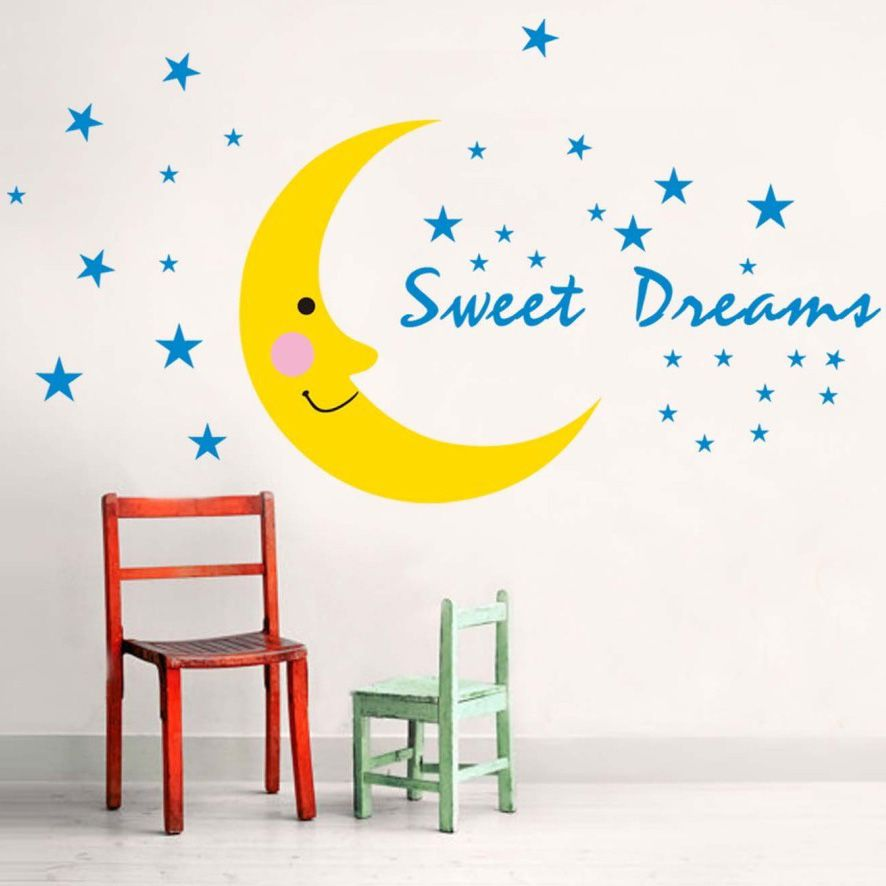 Sweet Dream Vinyl Wall Sticker Moon And Stars Mariposas Home Decor Paper For Baby Room Pegatinas P Wall Stickers Bedroom Wall Stickers Kids Large Wall Stickers