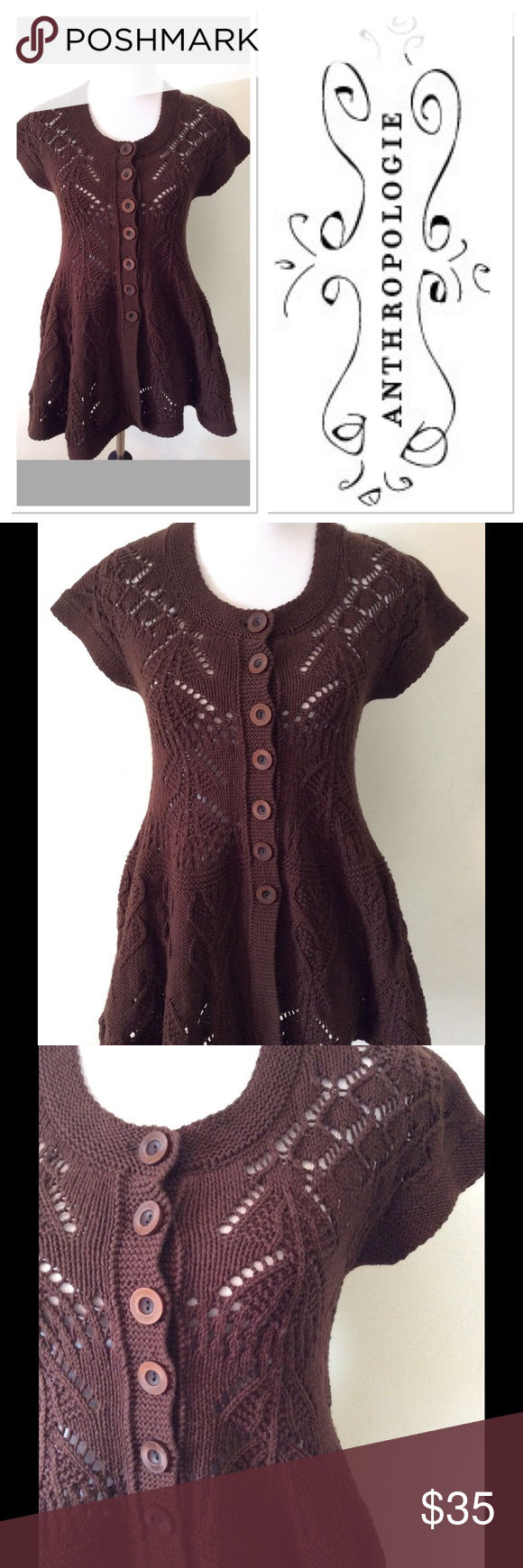 S ANTHROPOLOGIE Sparrow brown button up sweater | Anthropologie ...
