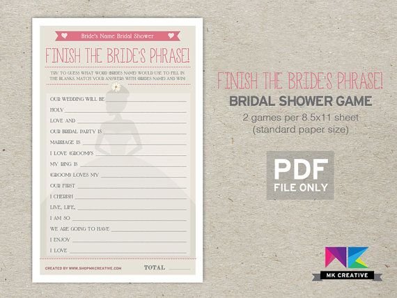Personalized Bridal Shower Game! Finish the Bride's Phrase