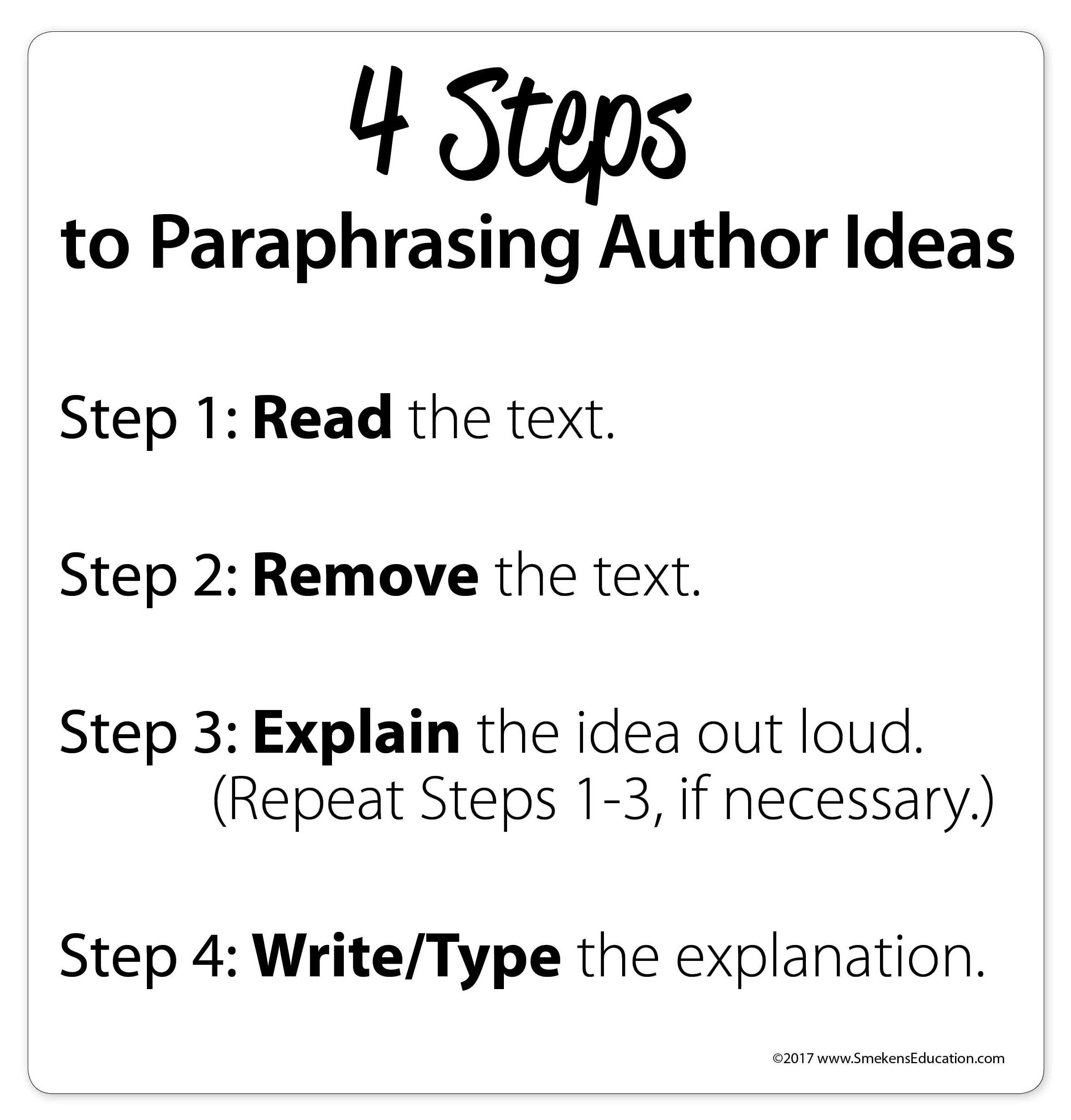4 Step To Paraphrasing Author Idea Paraphrase Essay How Put In A Sentence