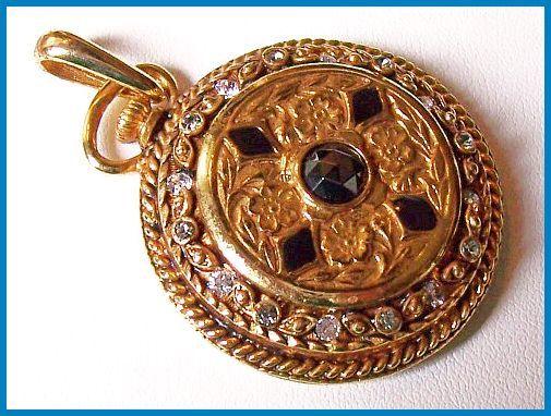 Vintage Pocket Watch Pendant Black & Clear by BrightgemsTreasures, $24.50