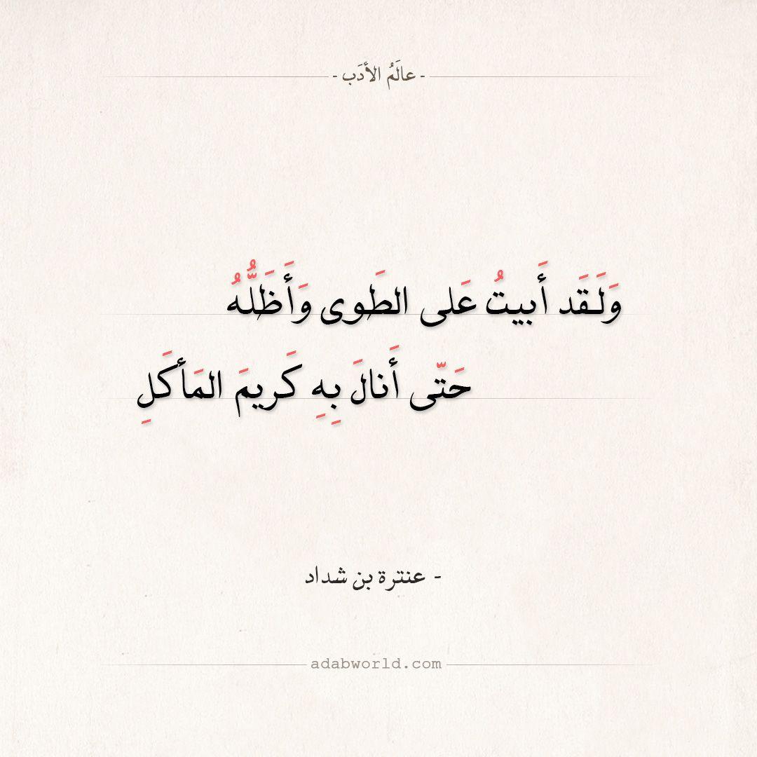 شعر عنترة بن شداد ولقد أبيت على الطوى وأظله عالم الأدب Pretty Words Wisdom Quotes Arabic Quotes