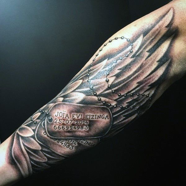 Forearm Dog Tags Tattoos For Men With Angel Wings | kerky ...