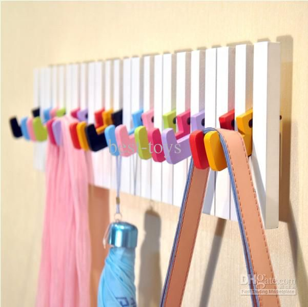 Kids Bedroom Hooks wooden hangers children's piano key rack child's hanger child's