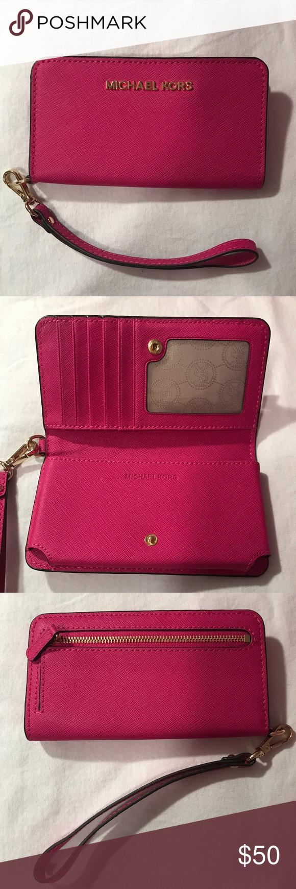 michael kors smartphone wristlet hot pink michael kors