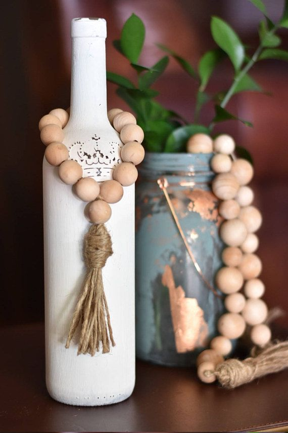 Farmhouse Bottle Beads - Natural Wooden Bead Lanyard - Farmhouse Style Garland