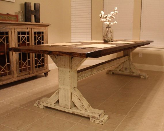 Farmhouse Pedestal Dining Table Rustic Table By Cmwoodwerks