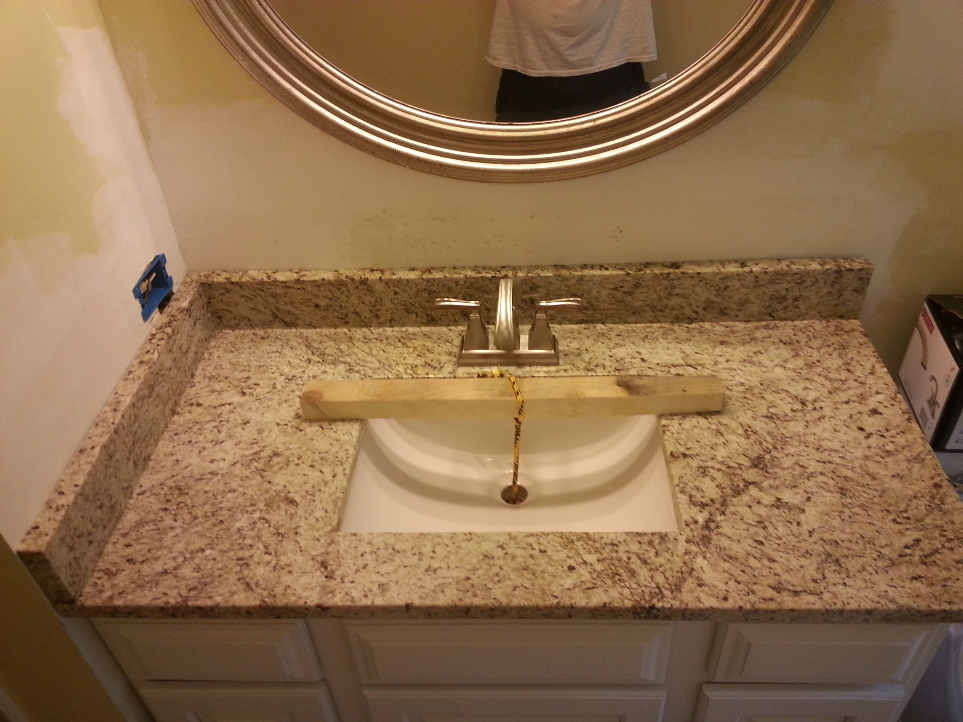 giallo ornamental granite bathroom vanity install for the van beke family knoxvilles stone interiors