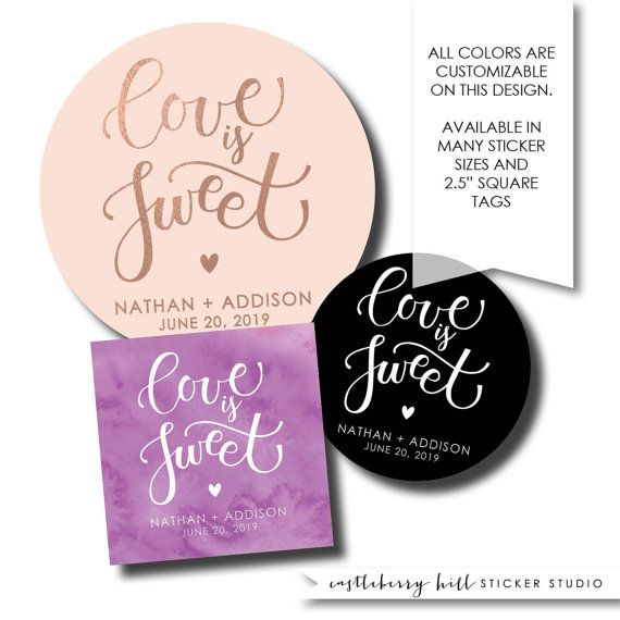 Love is sweet sweet treat labels cake labels candy buffet stickers pie labels donut label candy favor bakery box label cookie bar label sizes this