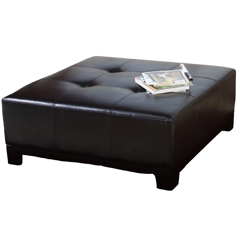 Avalon Espresso Brown Leather Ottoman Great Deal Furniture