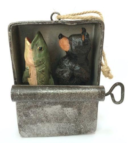 Bear And Fish In Tin Sardine Can Hunting Fishing Christmas Tree Ornament Decor