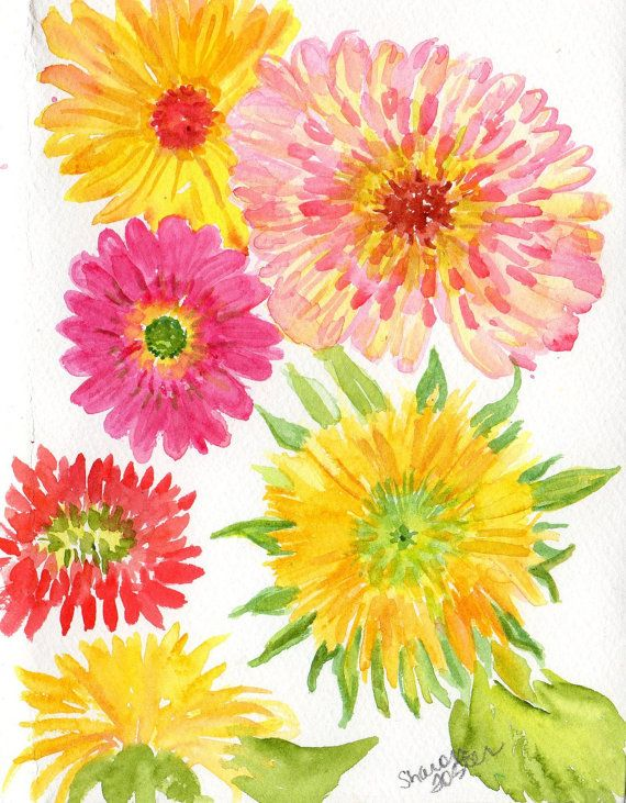 Original Watercolor Flowers Still Life Gerbera By Sharonfosterart