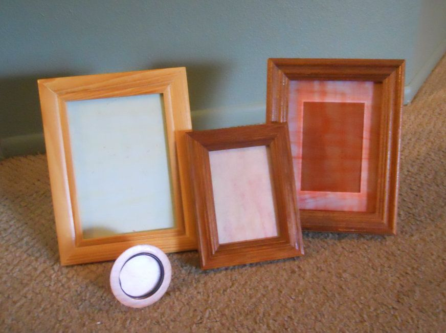 Picture frames with tinted glass.