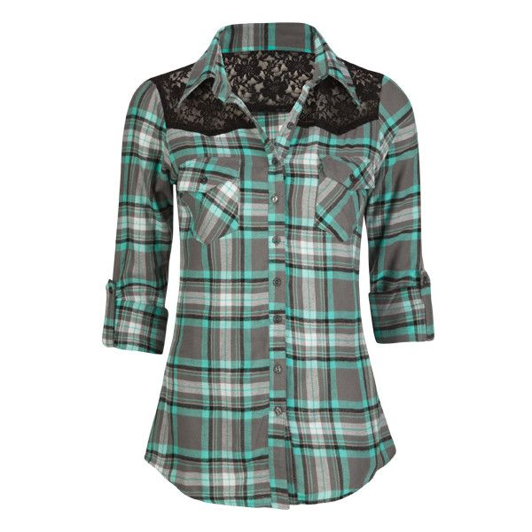 76fe4c41754 FULL TILT Lace Shoulder Womens Flannel Shirt ( 23) ❤ liked on Polyvore  featuring tops