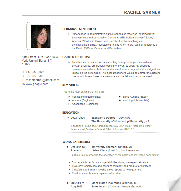 sample resume pic personal statement career objective key skills education work experience - Personal Resume Templates