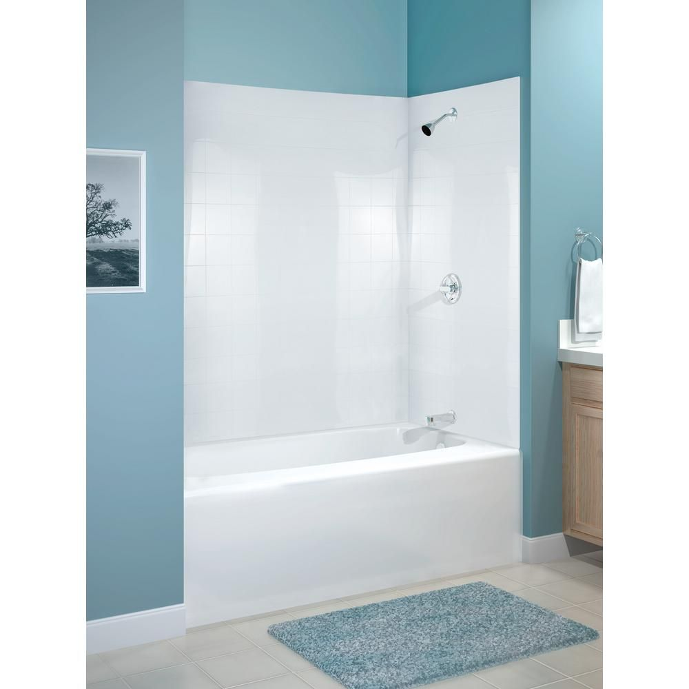 Peerless 60 in. x 30 in. Mirage Bathtub Wall Set in White | Home ...