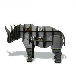 Estante Rinoceronte Kevin Cinza - MDF Revestida com Madeira Natural