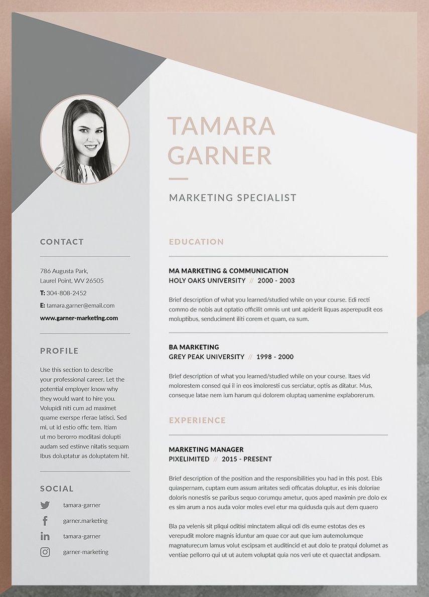 Resume Cv Tamara Graphic Design Cv Resume Design Template Resume Design