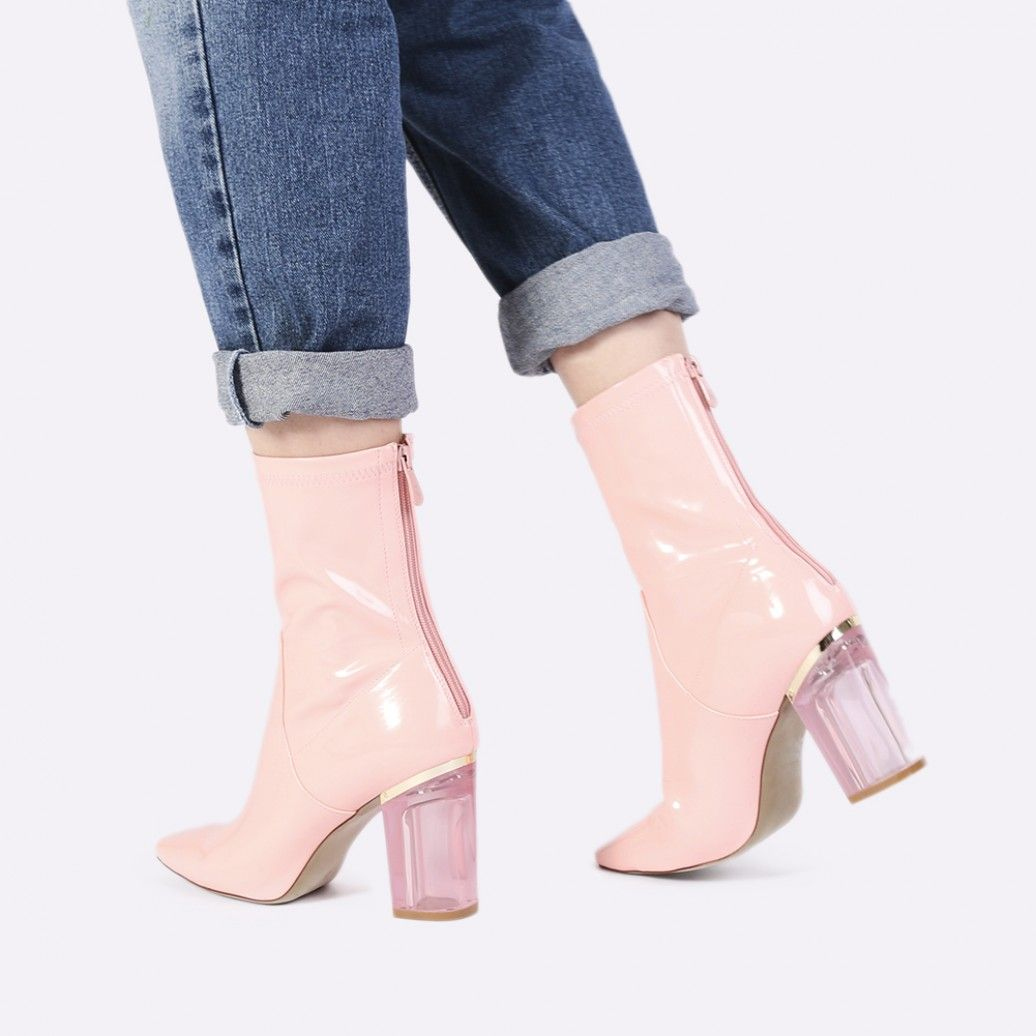 0c66a92bfc Chloe Perspex Heeled Ankle Boots in Nude PU | Public Desire ...