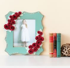 3D Floral Home Decor Cricut cartridge -- Rose embellished frame. Make It Now in Cricut Design Space