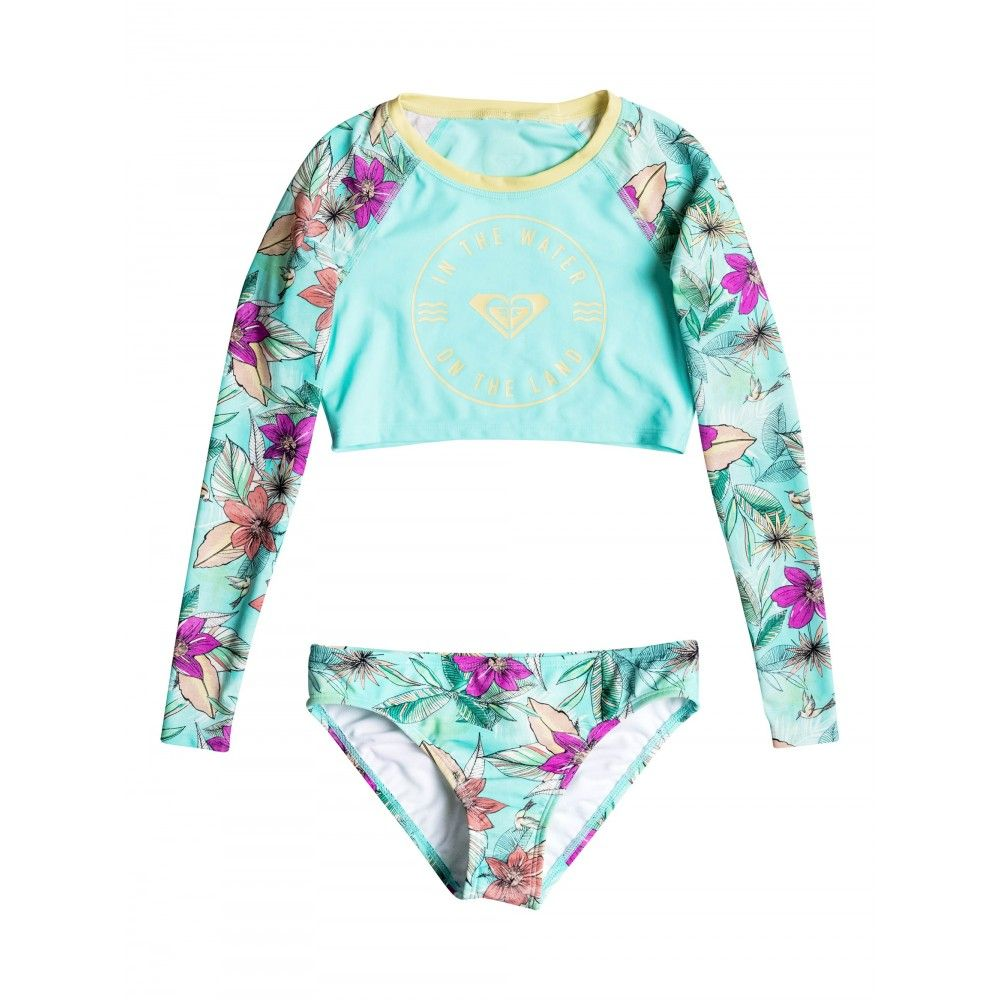 fe84456736 Girls 8-14 Hawaiian Paradise Long Sleeve Crop Rash Vest Set | GIRLS ...