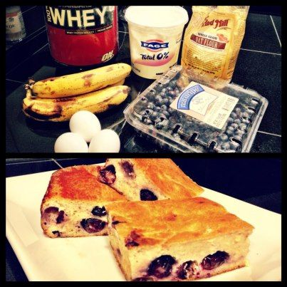 Ingredients:   3 ripe bananas   1/2 cup blueberries   3 egg whites   3/4 cup oat flour   1/4 cup Plain Greek yogurt   2 scoops vanilla protein powder.     Directions:   Preheat oven to 350.   Mix all wet ingredients first. Stir in dry ingredients and mix well.   Spray 8x8 pan with Pam and sprinkle with flour (helps keep bread from sticking.) Bake for 1 hour