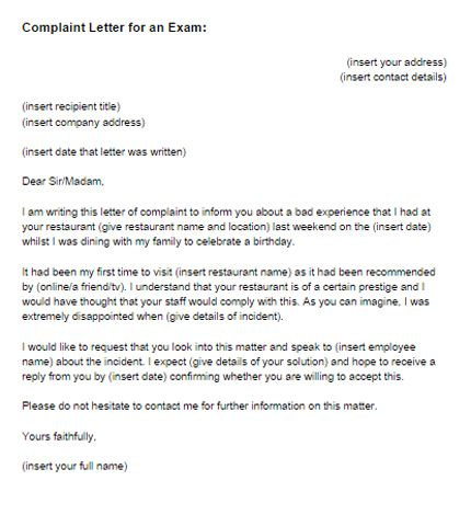 Complaint Letter  Educational    Business Letter