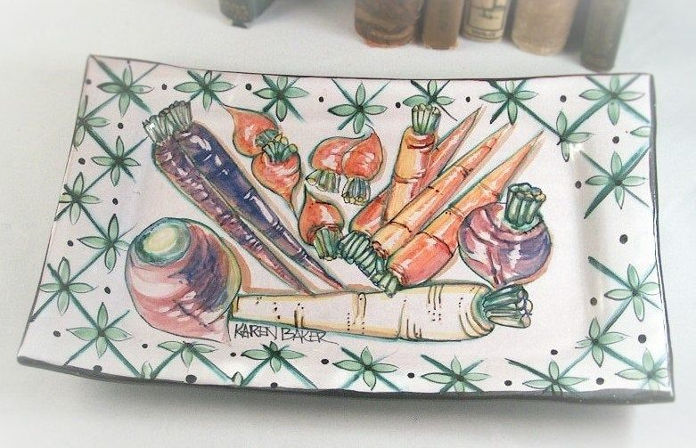 Majolica Hand Painted Ceramic Tray Autum And Fall Designs Whimsical Root Vegetables Carrots Radishes Parsnip Turnips Beets Ceramic Tray Hand Painted Ceramics Ceramic Painting