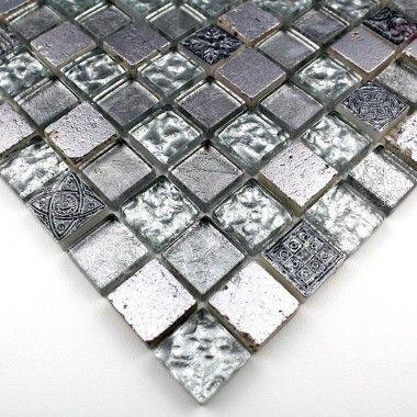 Carrelage Mosaique Verre Et Pierre 1 Plaque METALLIC ARGENT Personnalisez  Votre Salle De Bains Alliance Construction