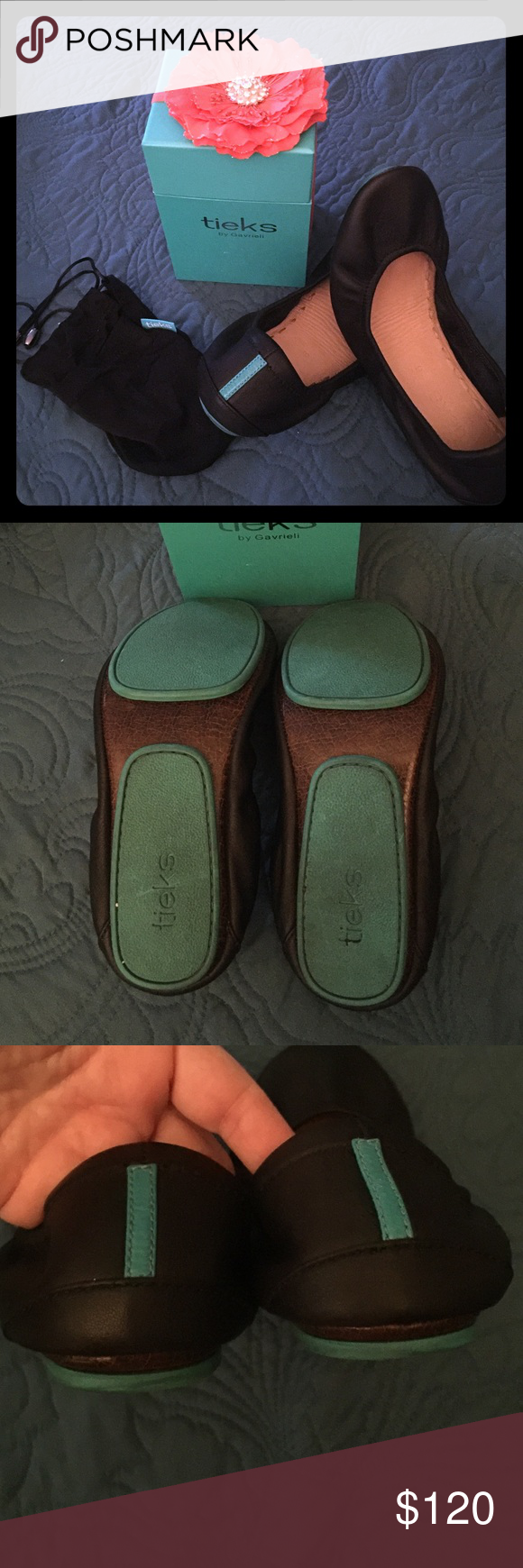 Tieks ballet flats Tieks ballet flats, black size 6. Worn only 5 times!! Perfect condition other than the bottoms which are shown in pic. Original box, dust covers and bag all included. No scuffs and no wear marks on inside leather. Please no low ball offers. Price is pretty firm! Tieks Shoes Flats & Loafers