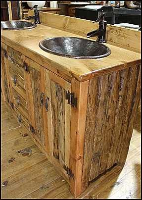 Double Bathroom Vanity 62 Ms1371 62d Rustic Log Etsy Rustic